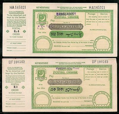 Pakistan O/p Bangladesh 4 Rs. Re. 1 Postal order with Counterfoil Unused # 16504