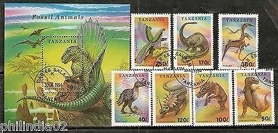 Tanzania 1994 Dinosaurs Pre Historic Animal Wildlife Sc 1217-24 7v+M/s Cancelled