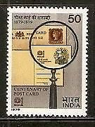 India 1979 Centenary of Post Cards in India Phila-789 1v MNH