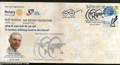India 2017 Rotary Foundation President Arch C. Klumph Emblem Sp. Cover # 18416