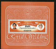 St. Kitts 1981 Lady Diana & Prince Charls Royal Wedding Sc 81 M/s MNH