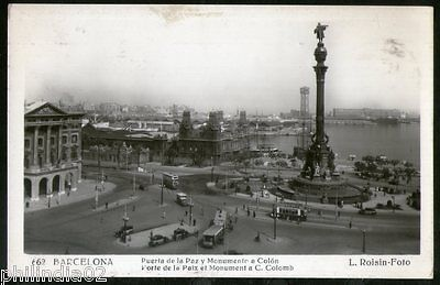 Spain 1954 Barcelona Gate of Peace & Monument View Picture Post Card to Finland