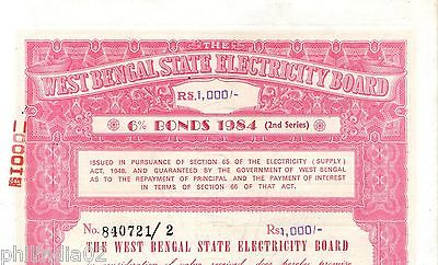 India 1984 West Bengal State Electricity Bonds 2nd Series Rs. 1000 # 10345H