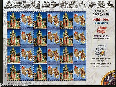 India 2011 My Stamp Sun Sign Pisces Diskit Monastery Buddhist Site Sheetlet MNH