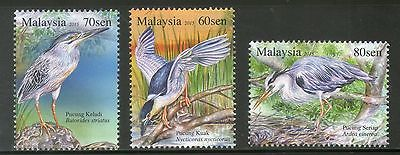 Malaysia 2015 Birds Herons and Bitterns Fauna Animals Wildlife 3v MNH # 3942