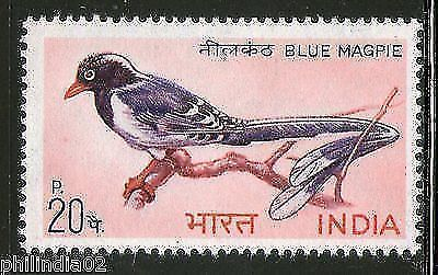 India 1968 Indian Birds - Red-billed Blue Magpie Phila-476 MNH