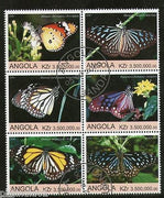 Angola 2000 Butterflies Papillon Insect Fauna Setenant BLK/6 Cancelled # 13489