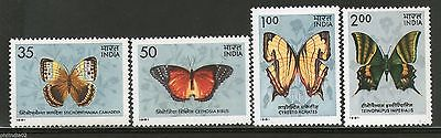 India 1981 Indian Butterflies Moth Insect Phila-869a 4v MNH