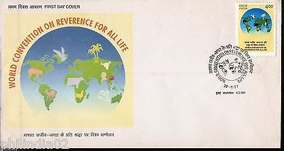 India 1997 Convention on Reverence For All Life Phila-1585 FDC