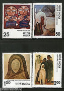 India 1978 Modern Indian Painting Phila-756-59 Tagore Jamini Roy Sher Gil MNH