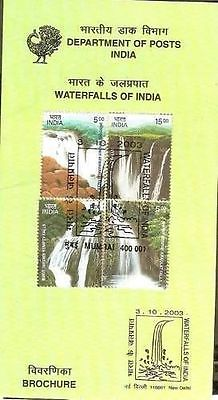India 2003 Waterfalls of India Phila-2149-52 Cancelled Folder