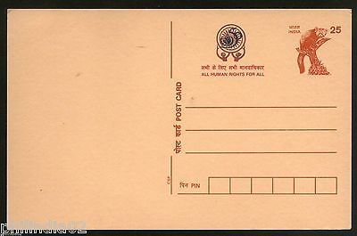 India 1998 All Human Rights for All Advt. on 25p CSP Panda Post Card Mint # 12867