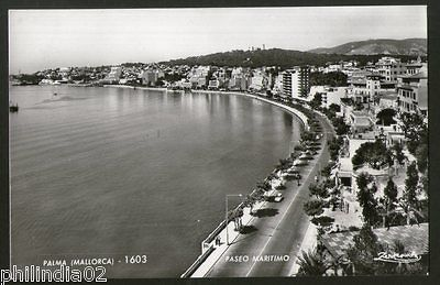 Spain 1951 Palma Mallorca Paseo Maritimo View Picture Post Card to Finland #186