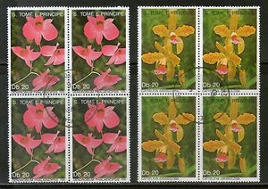St. Thomas & Prince Island 1989 Flower Orchid Tree Plant Sc 868-69 BLK/4 Cancelled# 89