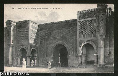 Morocco 1927 Meknes Bab Mansour Gate View / Picture Post Card to France # 125