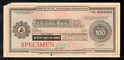 India Rs.100 Syndicate Bank Traveller's Cheques ' SPECIMEN ' RARE # 16132B