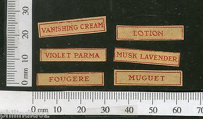 India 1950's Vanishing Cream X6 Print Vintage Perfume Label Multi-colour # 4010C