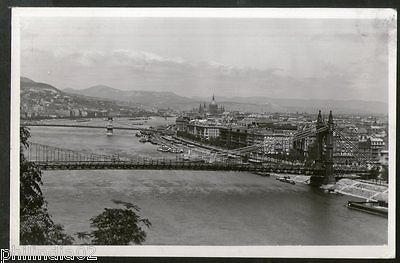 Hungary 1925 Budapest View of Danube Bridge View Picture Post Card to Finland #1