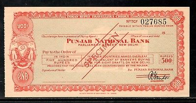 India Rs.500 Punjab National Bank Traveller's Cheques ' SPECIMEN ' RARE # 16221D