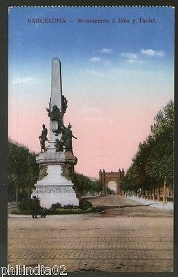 Spain 1929 Barcelona Rius and Taulet Monument View Picture Post Card to Finland