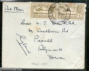 India 1931 KG V Air Mail Stamp on Cover Drigh Road Karachi to England # 1451-06