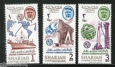 Sharjah - UAE 1965 International Telecommunication Union Ship Map MNH # 13172A