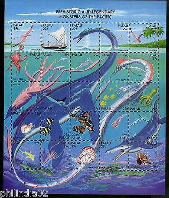 Palau 1993 Prehistoric Legendary Sea Creatures Fish Sheetlet Sc 318 MNH # 15128D