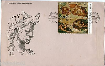 India 1975 Michelangelo Painting Art Phila-648 Se-Tenant Blk FDC + Folder