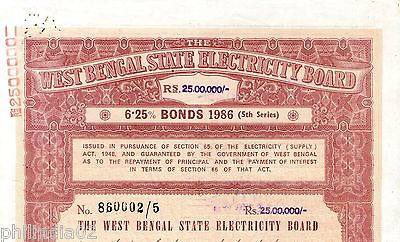 India 1986 West Bengal State Electricity Bonds 5th Series Rs. 25 Lakh # 10345D