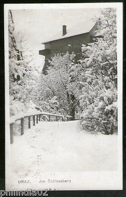 Austria 1913 Graz Castle at Winter Snow View Picture Post Card to France # 148
