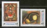 Nepal 2002 Traditional Paintings by King Birendra Pearl Sc 712-3 MNH # 2194