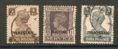 India 3 Different KGVI O/P Pakistan Used Stamps # 2446