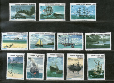 Cocos Keeling Islands 1976 Historic Ships Yacht Transport Sc 20-31 MNH # 2471