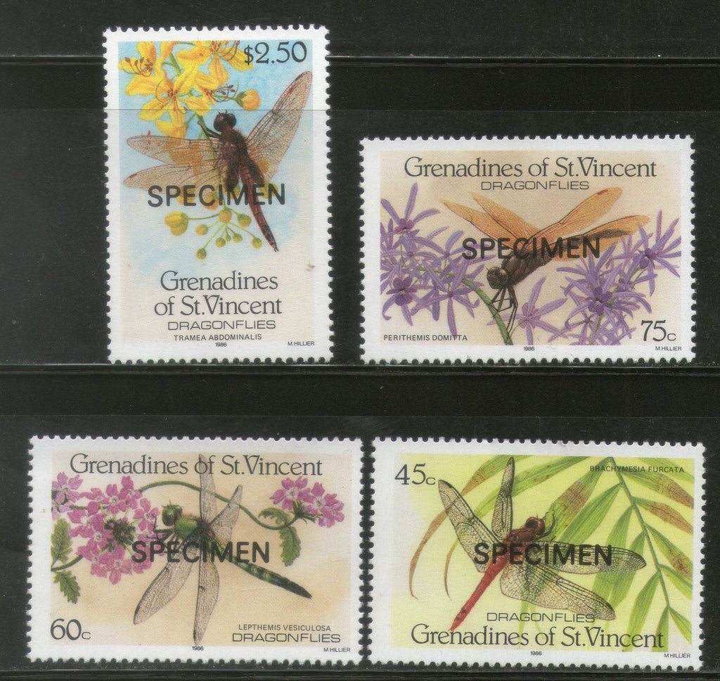 St. Vincent Grenadines 1986 Dragonflies Insect SPECIMEN Sc 546-49 MNH # 0248 - Phil India Stamps