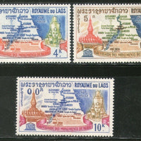 Laos 1963 UNESCO Save Historic Monument Temple Map of Nubia Sc 89-91 MNH # 0257 - Phil India Stamps