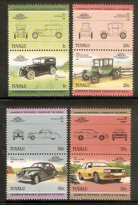 Tuvalu 1985 Motor Cars Automobiles Transport Sc 299-302 8v MNH # 0025 - Phil India Stamps