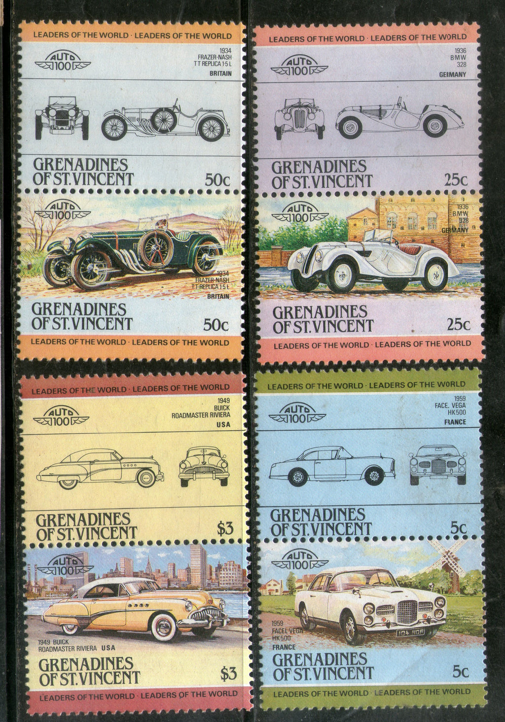 St. Vincent Grenadines 1985 Cars Automobile Motor Vehicles Transport 8v MNH # 274 - Phil India Stamps