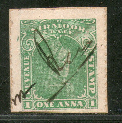 India Fiscal Sirmoor State 1 An King Type15 KM151 Court Fee Revenue Stamp # 278C