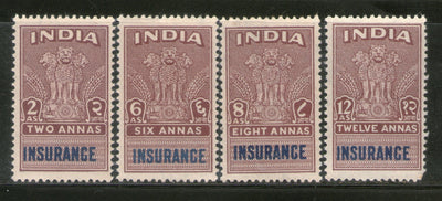 India Fiscal 4 Different Insurance Stamp Revenue MNH # 280