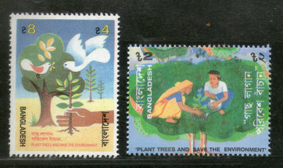 Bangladesh 1992 Tree Plantation Save the Environment Birds Sc 412-13 MNH # 2986