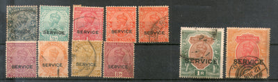 India 1912-31 King George V 11 Diff Used Service Stamps Watermark Unchecked # 317