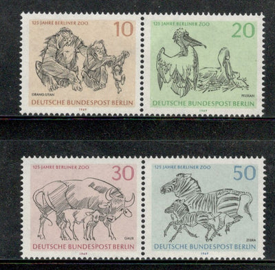 Germany 1967 Wildlife Berlin Zoo Animals Zebra Bird Orangutan Sc 9N275 MNH # 327