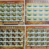 India 2017 Step Wells Ancient Baori Architecture set of 16 Individual Sheetlets MNH
