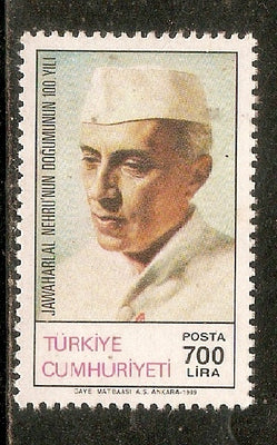 Turkey 1989 Jawaharlal Nehru of India Birth Centenary 1v MNH # 3441