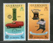 Guernsey 1979 Europa Telecommunication Pillar Box Early Telephone Telex Machine Sc 189-90 No Gum # 345