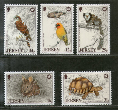Jersey 1988 Eagal Tortoise Birds Reptiles Wildlife Animals Sc 456-60 MNH # 3605