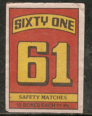 India 61 Sixty One Numbured Match Box Packet Label Large Size # 3617 - Phil India Stamps