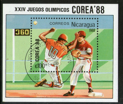 Nicaragua 1988 Seoul Olympic Games Baseball Sport M/s Sc 1692 Cancelled # 361