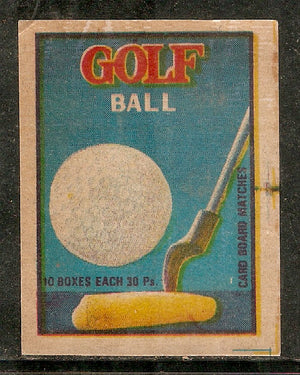 India Golf Ball & Stick Sport Match Box Packet Label Large Size # 3623 - Phil India Stamps