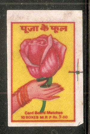 India Red Rose Hand Flower Match Box Packet Label Large Size # 3625 - Phil India Stamps